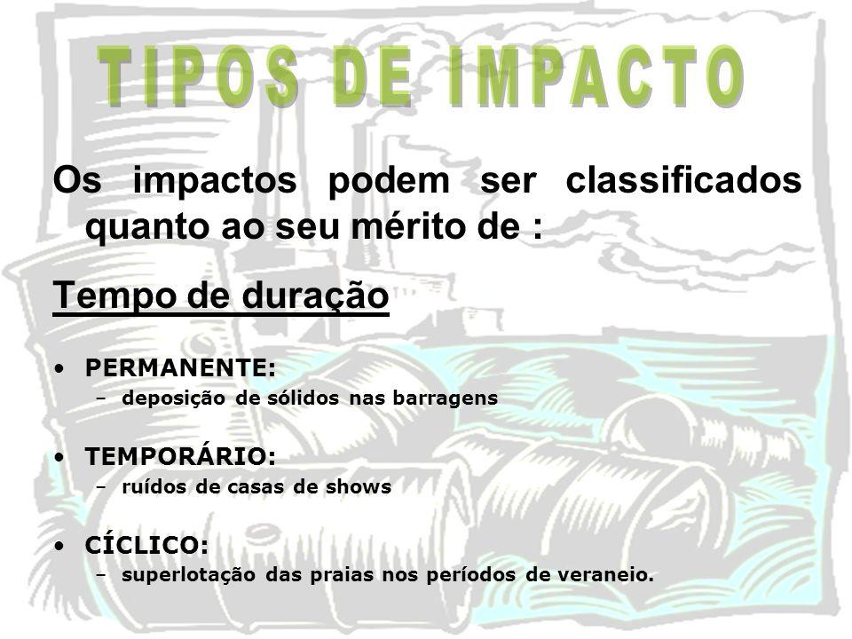 Os impactos podem ser classificados quanto ao seu mérito de : Tempo de duração PERMANENTE: –deposição de sólidos nas barragens TEMPORÁRIO: –ruídos de