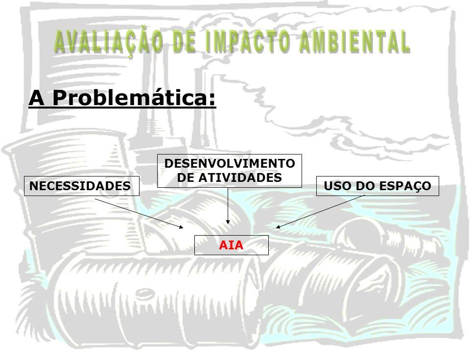 A Problemática: NECESSIDADES DESENVOLVIMENTO DE ATIVIDADES USO DO ESPAÇO AIA