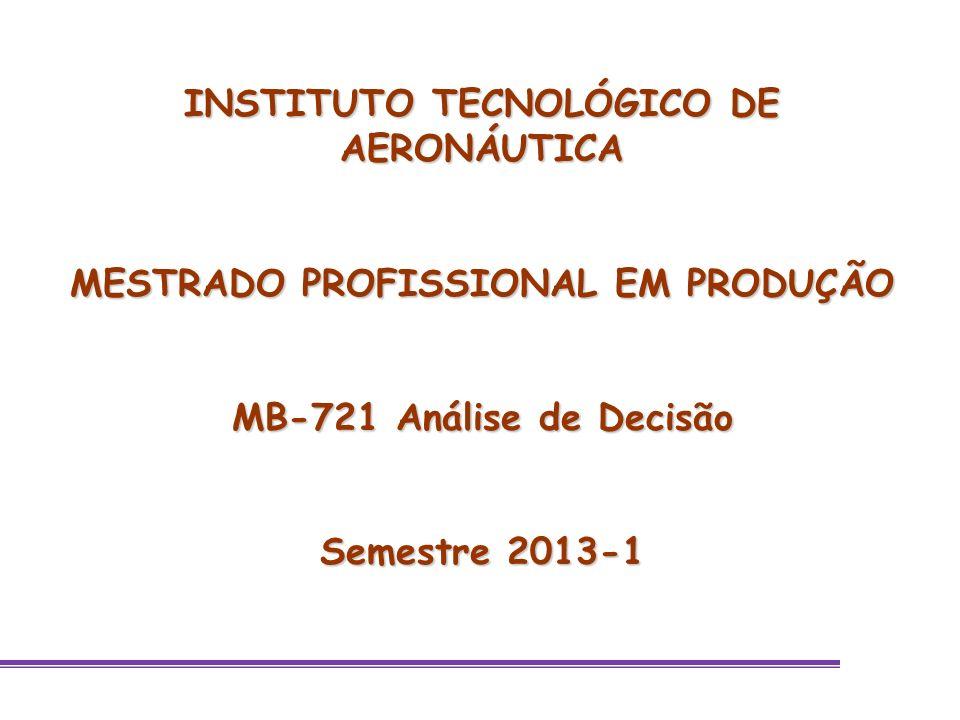 INSTITUTO TECNOLÓGICO DE AERONÁUTICA MESTRADO PROFISSIONAL EM PRODUÇÃO MB-721 Análise de Decisão Semestre 2013-1