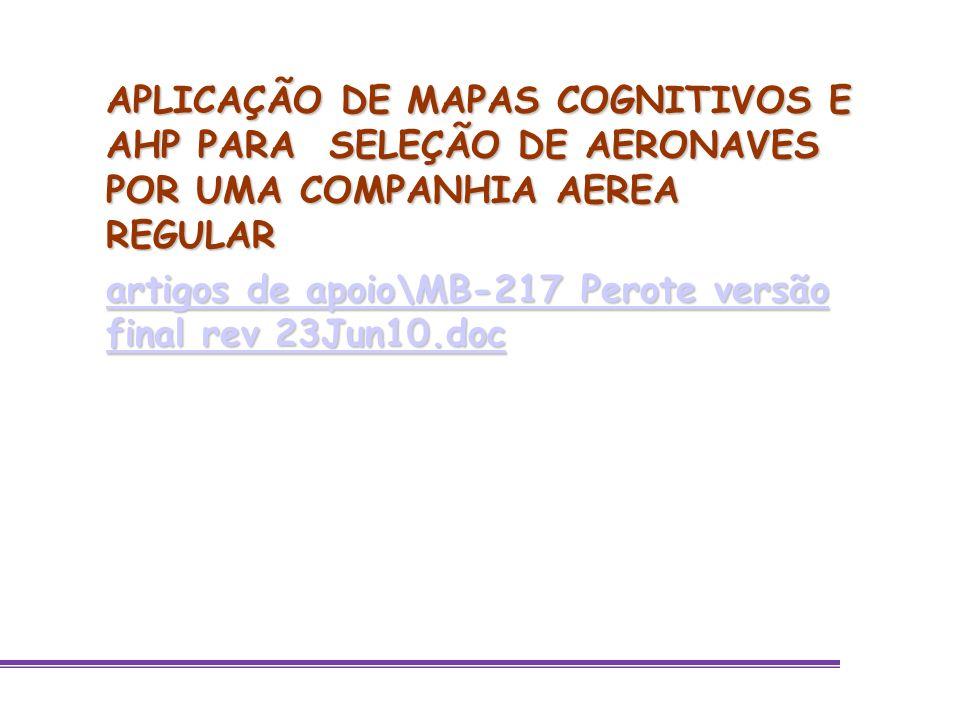 APLICAÇÃO DE MAPAS COGNITIVOS E AHP PARA SELEÇÃO DE AERONAVES POR UMA COMPANHIA AEREA REGULAR artigos de apoio\MB-217 Perote versão final rev 23Jun10.