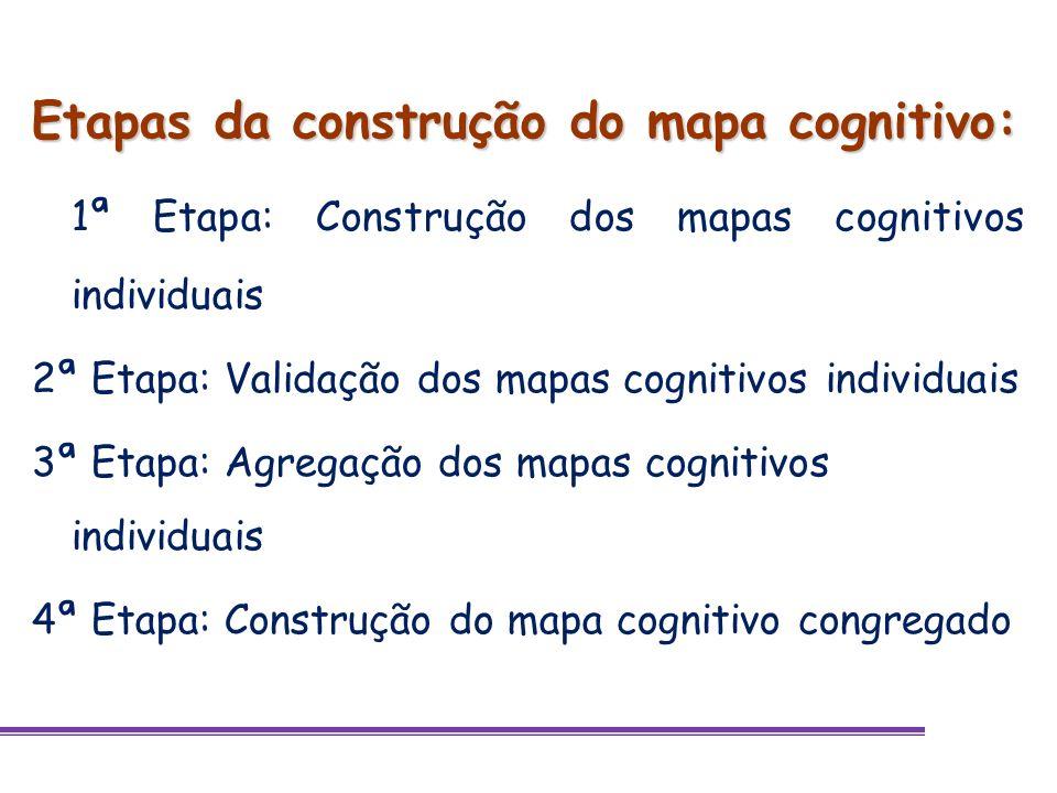 Etapas da construção do mapa cognitivo: 1ª Etapa: Construção dos mapas cognitivos individuais 2ª Etapa: Validação dos mapas cognitivos individuais 3ª