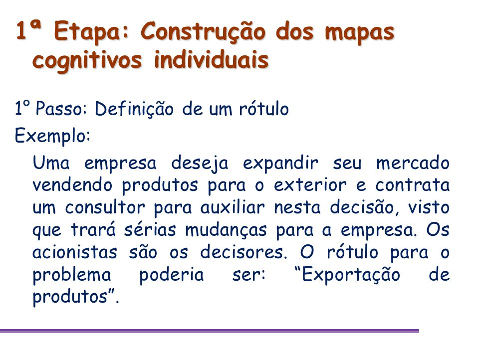 1ª Etapa: Construção dos mapas cognitivos individuais 1° Passo: Definição de um rótulo Exemplo: Uma empresa deseja expandir seu mercado vendendo produ