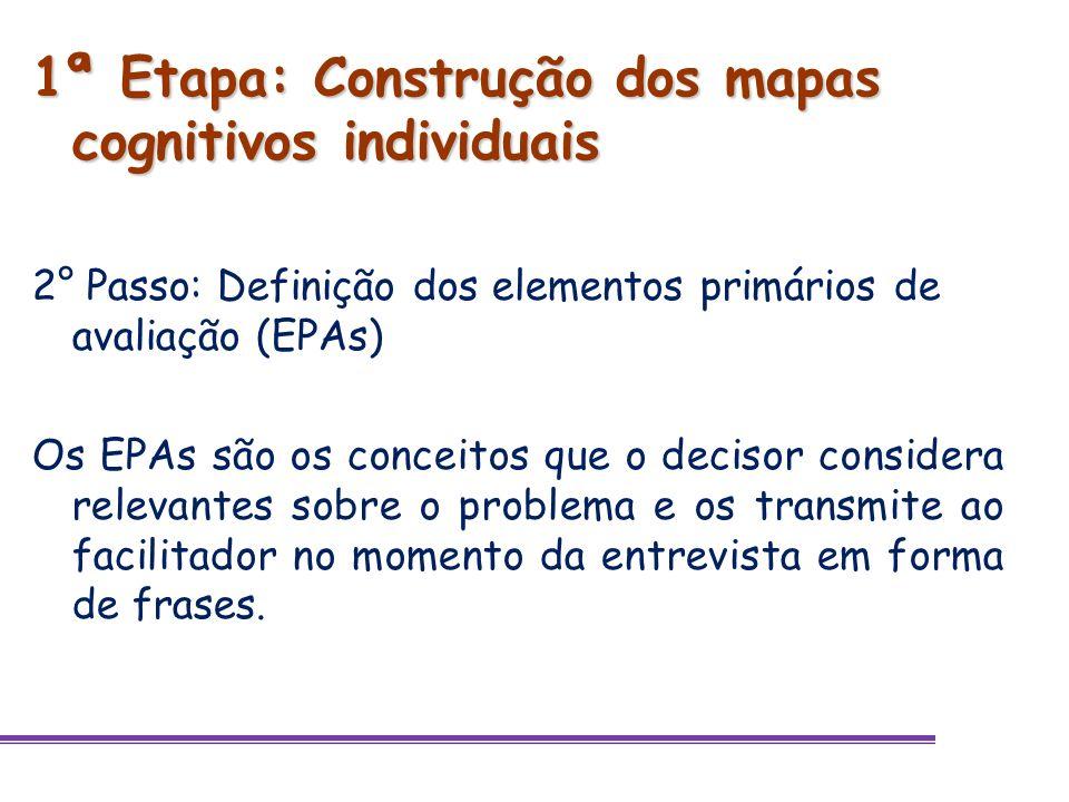 1ª Etapa: Construção dos mapas cognitivos individuais Exemplos de EPAs: aumento do mercado atual; faz parte da visão da empresa expandir para o exterior; definição do(s) país(es) de mercado alvo dos produtos.