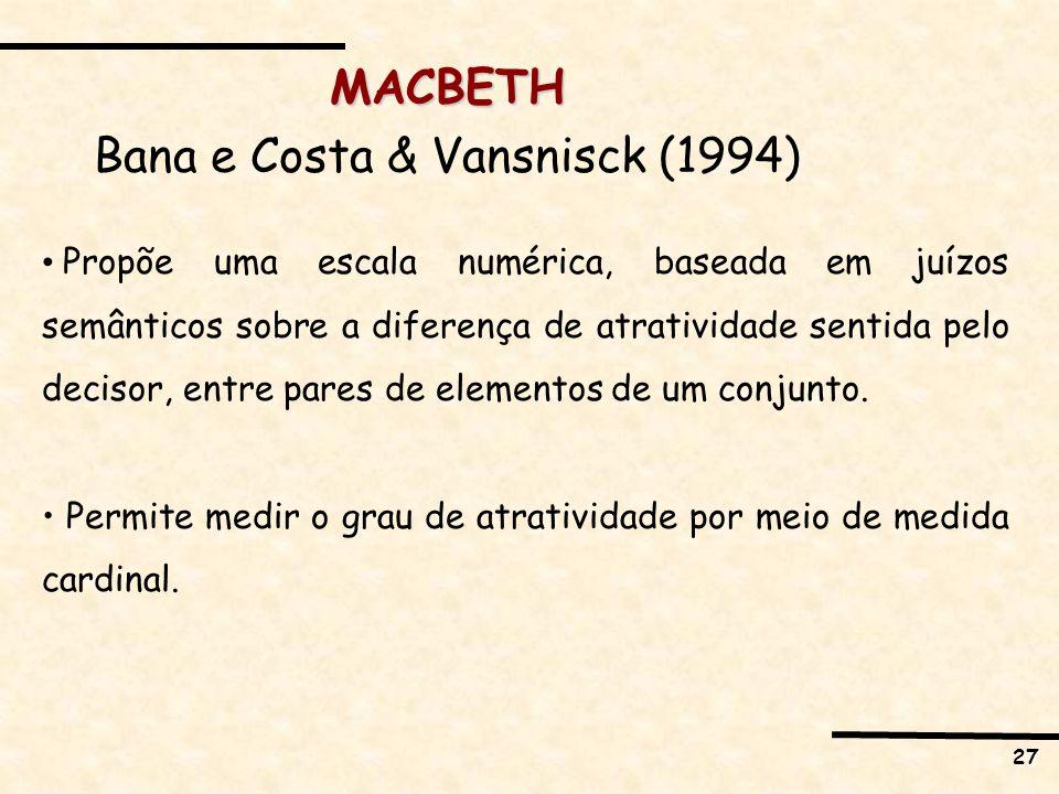27 MACBETH Bana e Costa & Vansnisck (1994) Propõe uma escala numérica, baseada em juízos semânticos sobre a diferença de atratividade sentida pelo dec