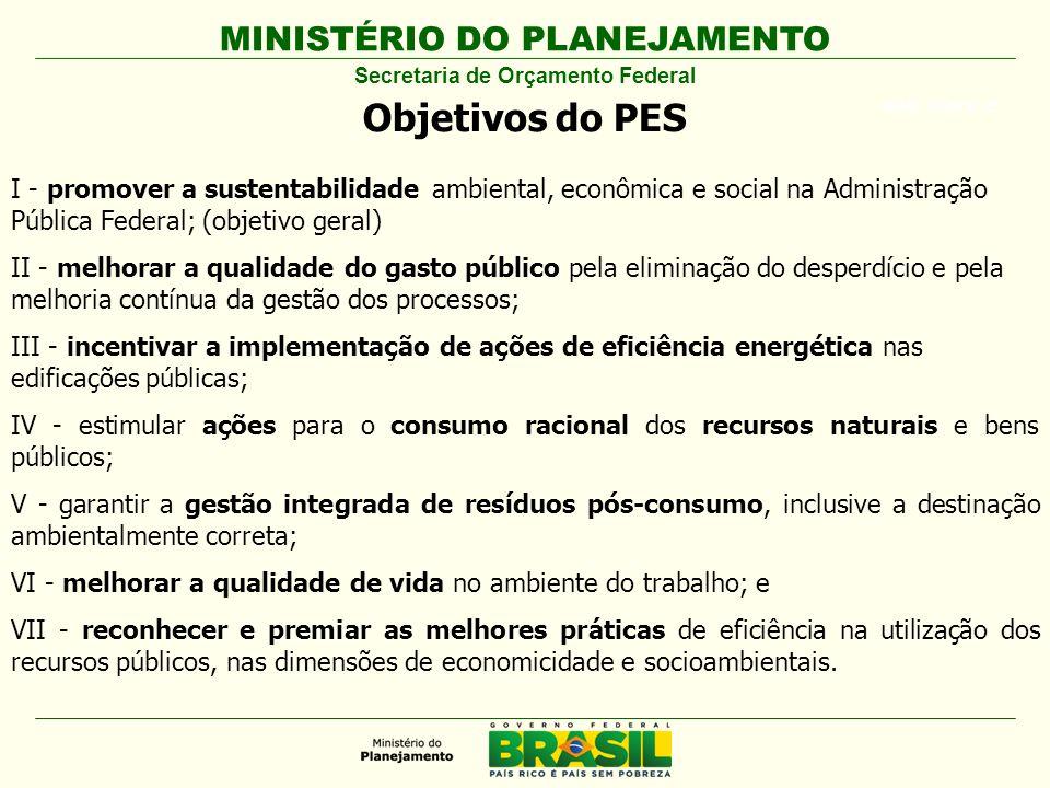 MINISTÉRIO DO PLANEJAMENTO ARIAL BLACK 23 Objetivos do PES I - promover a sustentabilidade ambiental, econômica e social na Administração Pública Fede