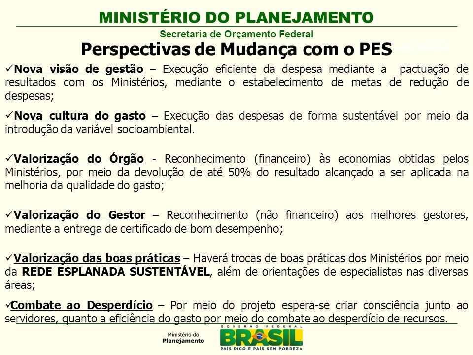 MINISTÉRIO DO PLANEJAMENTO ARIAL BLACK 23 Perspectivas de Mudança com o PES Nova visão de gestão – Execução eficiente da despesa mediante a pactuação