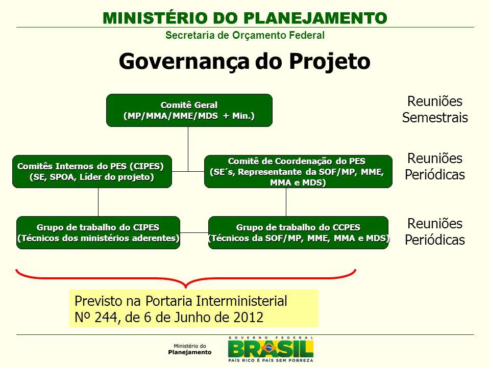 MINISTÉRIO DO PLANEJAMENTO Secretaria de Orçamento Federal Governança do Projeto Comitês Internos do PES (CIPES) (SE, SPOA, Líder do projeto) Reuniões