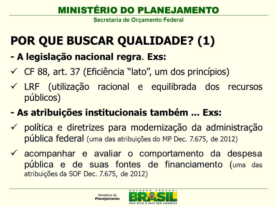 MINISTÉRIO DO PLANEJAMENTO Secretaria de Orçamento Federal POR QUE BUSCAR QUALIDADE? (1) - A legislação nacional regra. Exs: CF 88, art. 37 (Eficiênci