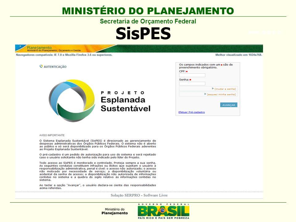 MINISTÉRIO DO PLANEJAMENTO ARIAL BLACK 23 SisPES Secretaria de Orçamento Federal