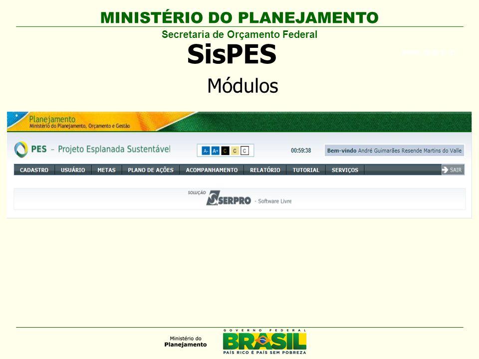 MINISTÉRIO DO PLANEJAMENTO ARIAL BLACK 23 SisPES Secretaria de Orçamento Federal Módulos