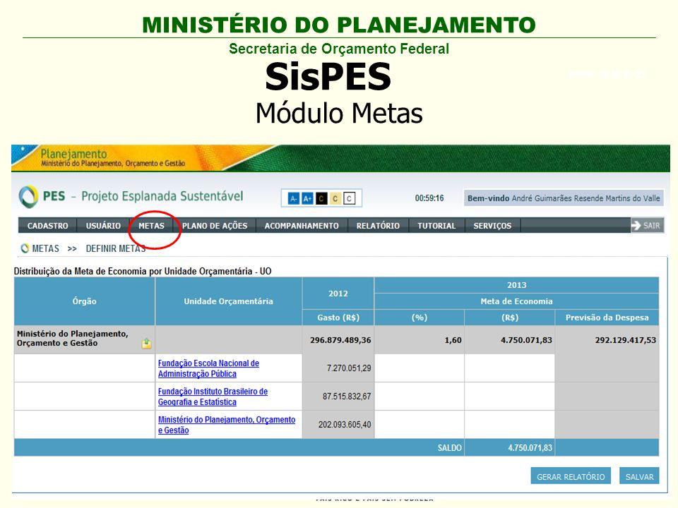 MINISTÉRIO DO PLANEJAMENTO ARIAL BLACK 23 SisPES Secretaria de Orçamento Federal Módulo Metas