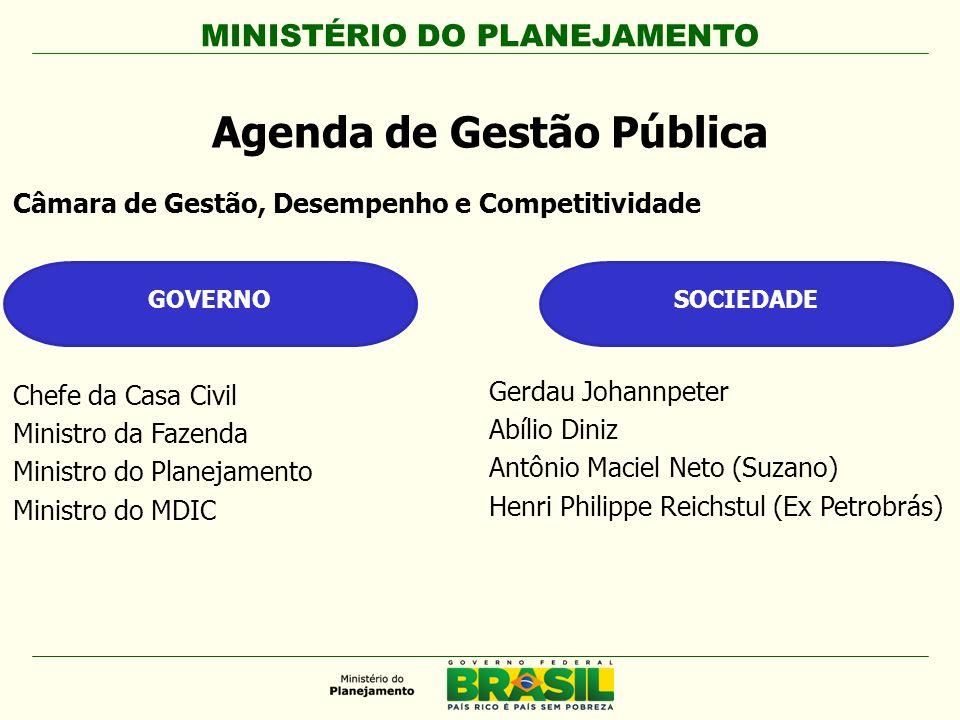 Câmara de Gestão, Desempenho e Competitividade Agenda de Gestão Pública GOVERNOSOCIEDADE Chefe da Casa Civil Ministro da Fazenda Ministro do Planejame