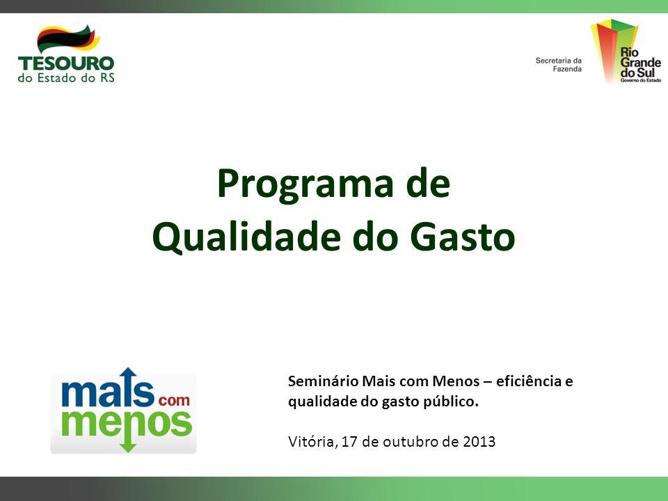 Programa de Qualidade do Gasto Seminário Mais com Menos – eficiência e qualidade do gasto público. Vitória, 17 de outubro de 2013