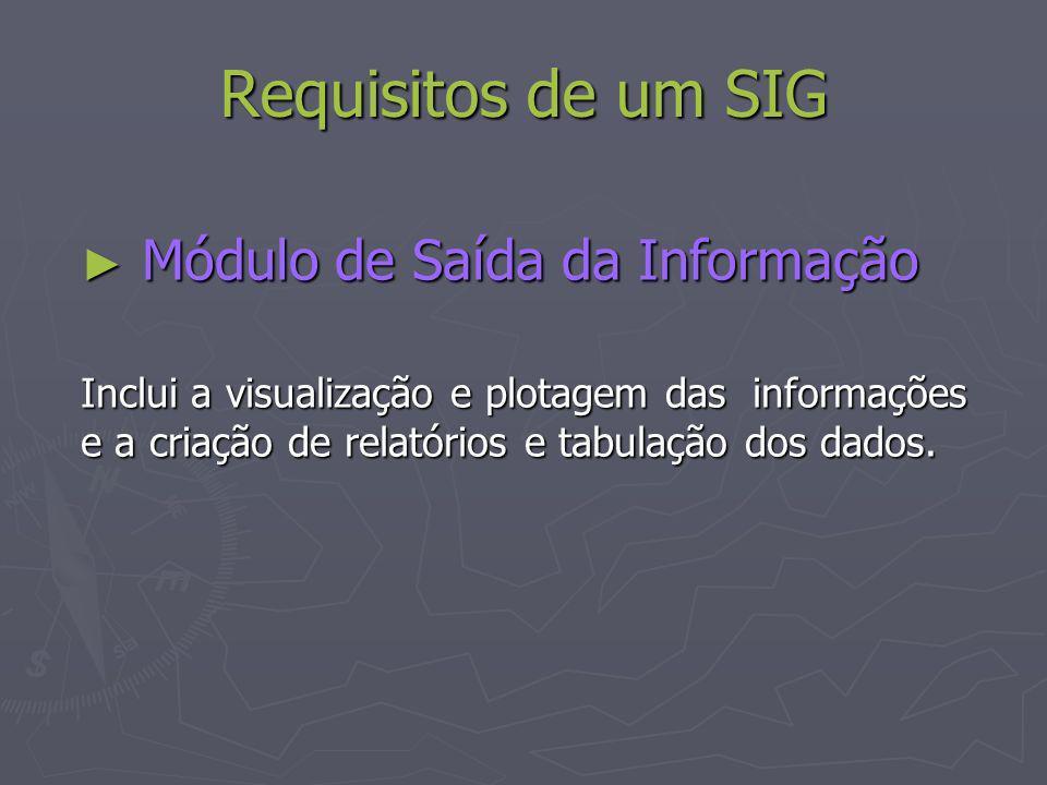 Requisitos de um SIG Módulo de Saída da Informação Módulo de Saída da Informação Inclui a visualização e plotagem das informações e a criação de relat