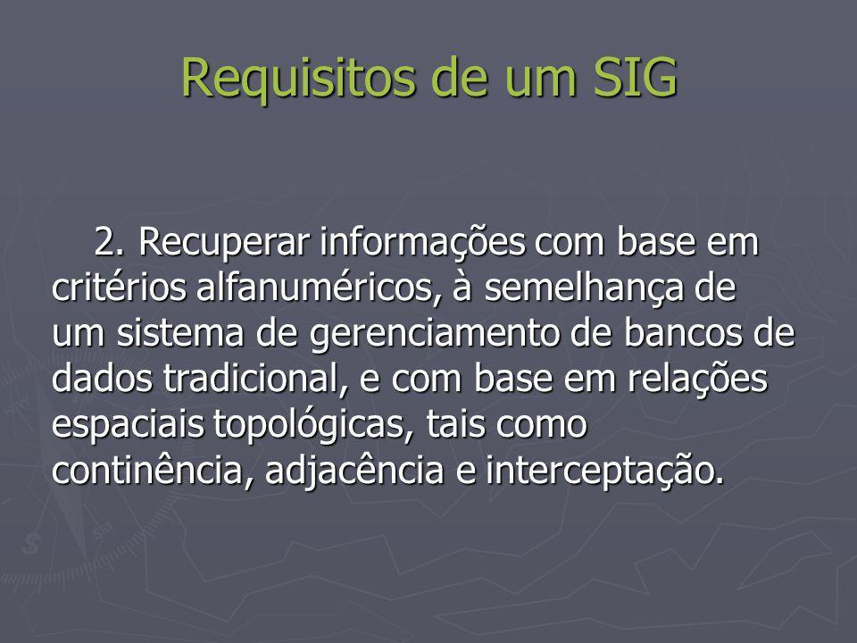 Requisitos de um SIG 2. Recuperar informações com base em critérios alfanuméricos, à semelhança de um sistema de gerenciamento de bancos de dados trad