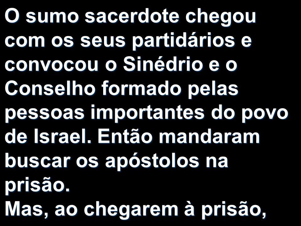 O sumo sacerdote chegou com os seus partidários e convocou o Sinédrio e o Conselho formado pelas pessoas importantes do povo de Israel. Então mandaram