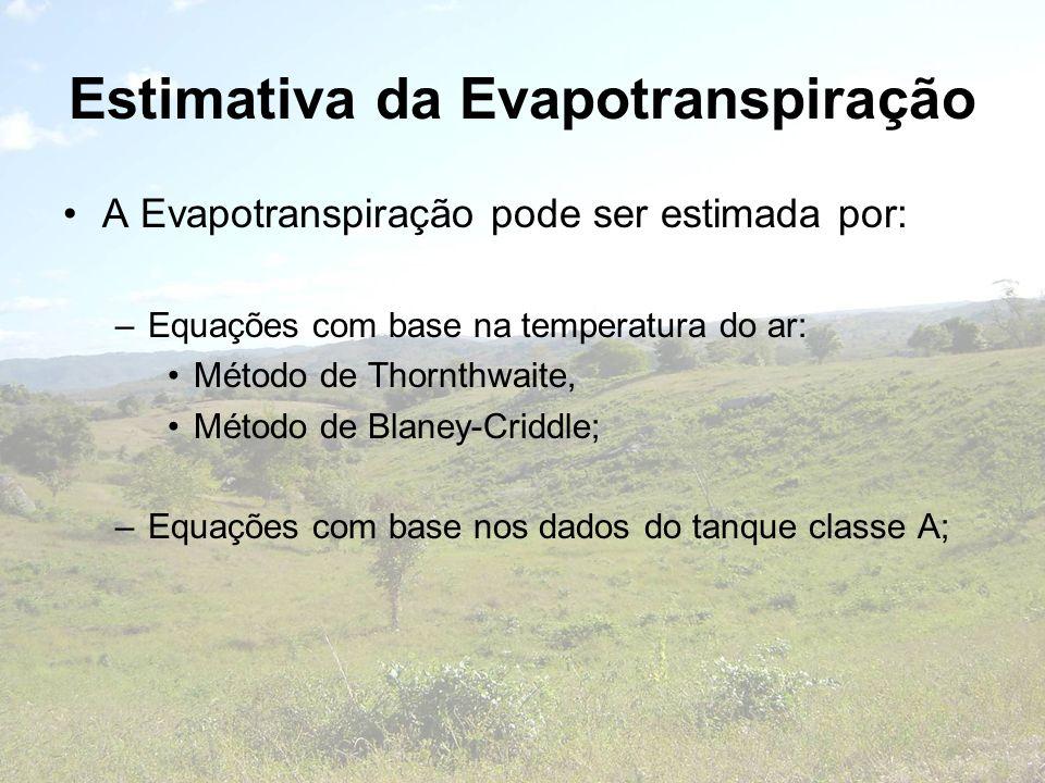 Estimativa da Evapotranspiração A Evapotranspiração pode ser estimada por: –Equações com base na temperatura do ar: Método de Thornthwaite, Método de
