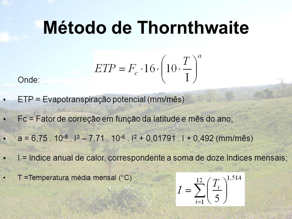 Método de Thornthwaite Onde: ETP = Evapotranspiração potencial (mm/mês) Fc = Fator de correção em função da latitude e mês do ano; a = 6,75. 10 -8. I