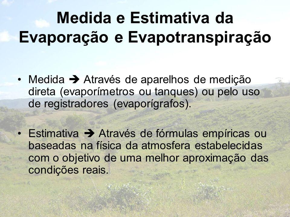 Medida e Estimativa da Evaporação e Evapotranspiração Medida Através de aparelhos de medição direta (evaporímetros ou tanques) ou pelo uso de registra