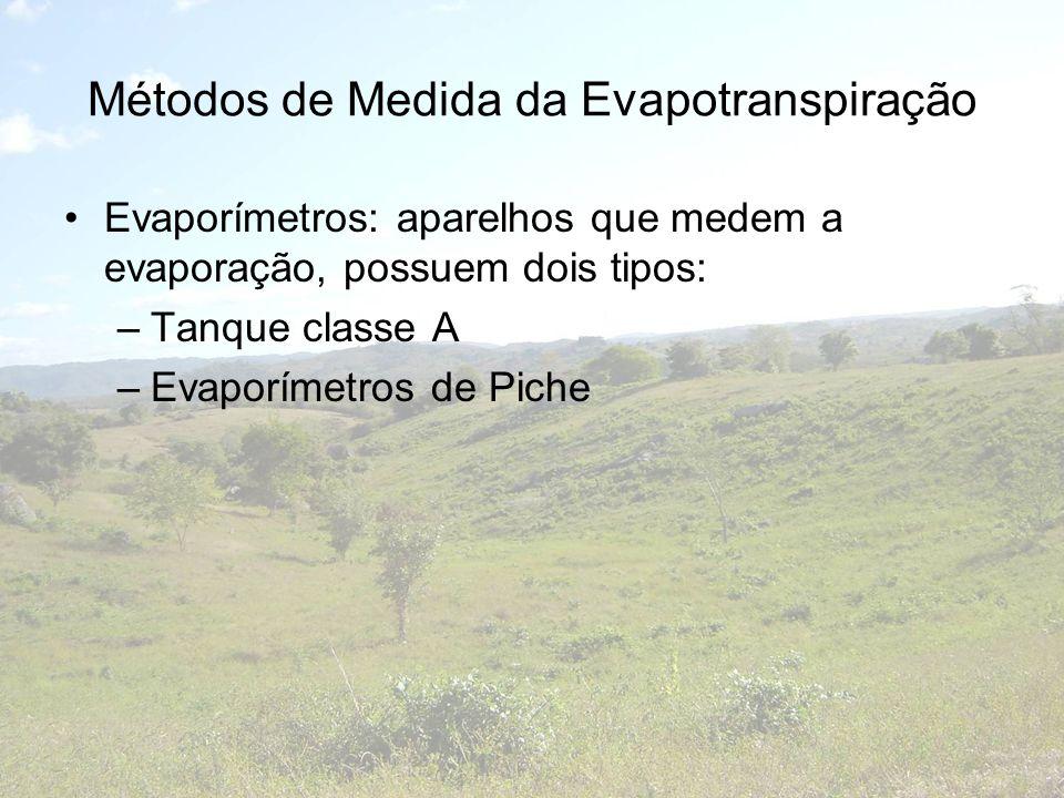 Métodos de Medida da Evapotranspiração Evaporímetros: aparelhos que medem a evaporação, possuem dois tipos: –Tanque classe A –Evaporímetros de Piche
