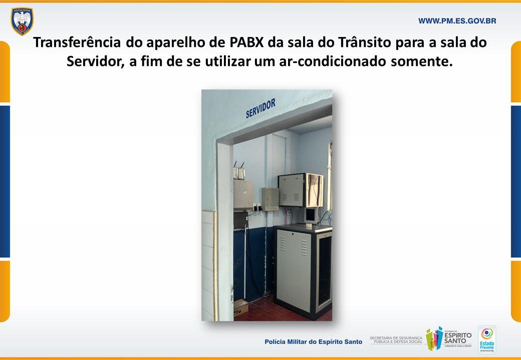 Transferência do aparelho de PABX da sala do Trânsito para a sala do Servidor, a fim de se utilizar um ar-condicionado somente.