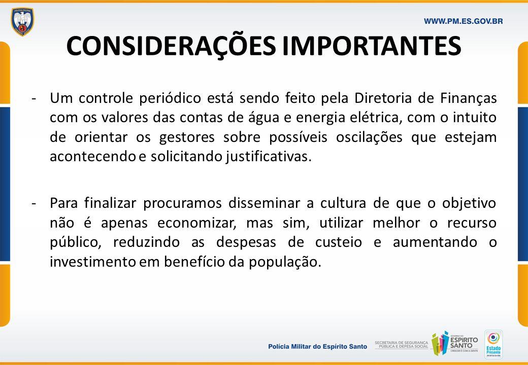 CONSIDERAÇÕES IMPORTANTES -Um controle periódico está sendo feito pela Diretoria de Finanças com os valores das contas de água e energia elétrica, com