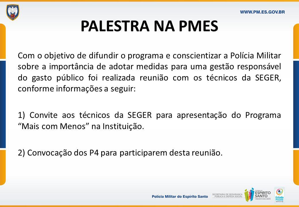 PALESTRA NA PMES Com o objetivo de difundir o programa e conscientizar a Polícia Militar sobre a importância de adotar medidas para uma gestão respons