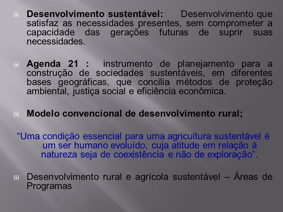 Desenvolvimento sustentável: Desenvolvimento que satisfaz as necessidades presentes, sem comprometer a capacidade das gerações futuras de suprir suas
