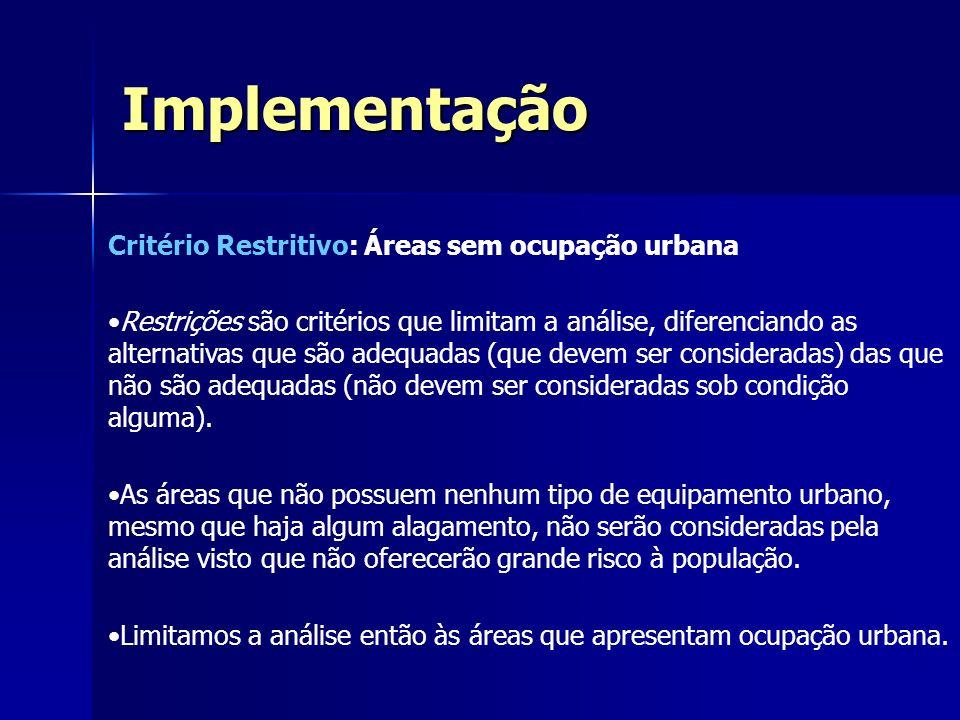 Critério Restritivo: Áreas sem ocupação urbana Restrições são critérios que limitam a análise, diferenciando as alternativas que são adequadas (que de