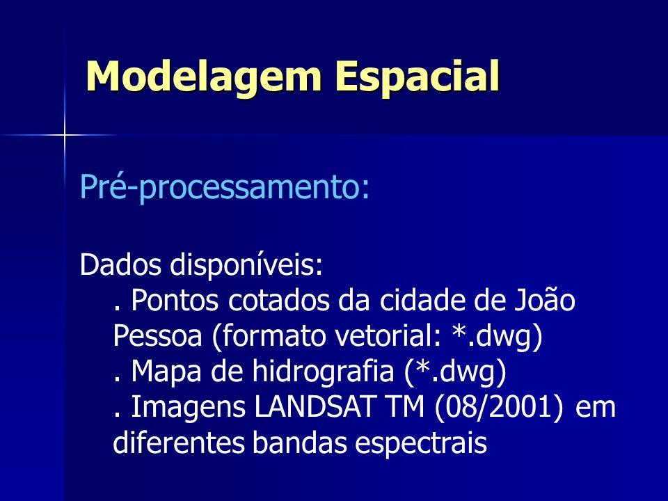 Pré-processamento: Dados disponíveis:. Pontos cotados da cidade de João Pessoa (formato vetorial: *.dwg). Mapa de hidrografia (*.dwg). Imagens LANDSAT