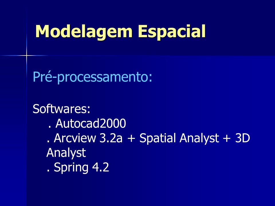 Pré-processamento: Softwares:. Autocad2000. Arcview 3.2a + Spatial Analyst + 3D Analyst. Spring 4.2 Modelagem Espacial