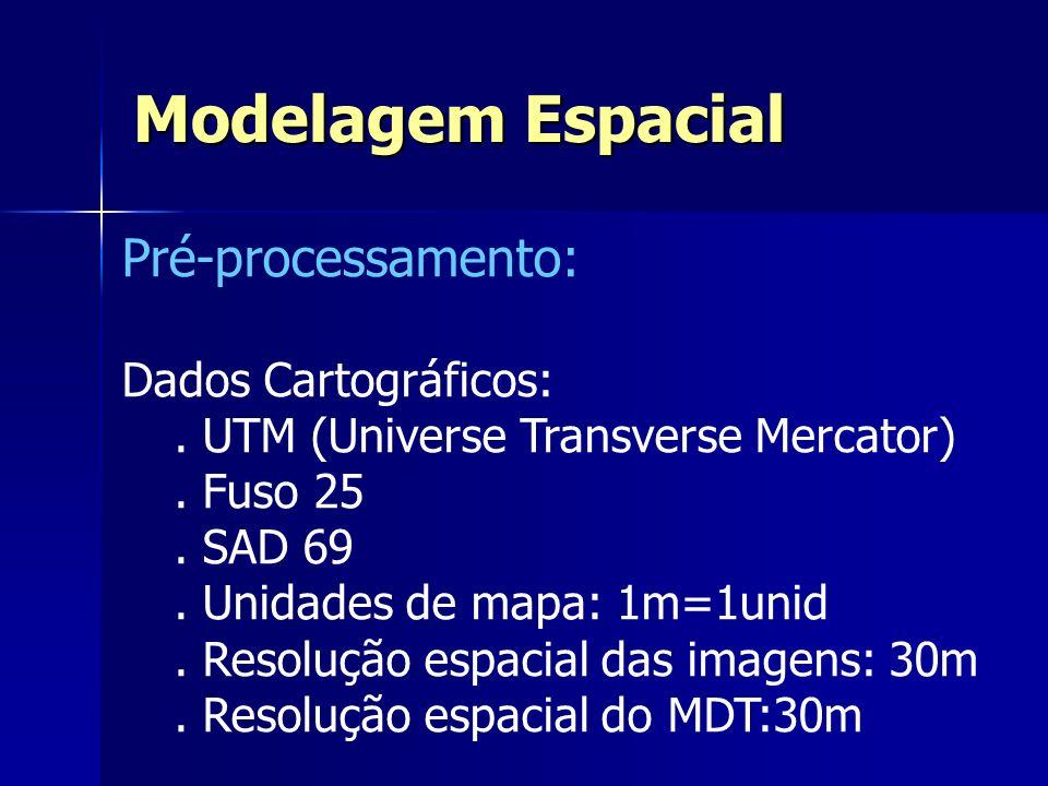 Pré-processamento: Dados Cartográficos:. UTM (Universe Transverse Mercator). Fuso 25. SAD 69. Unidades de mapa: 1m=1unid. Resolução espacial das image