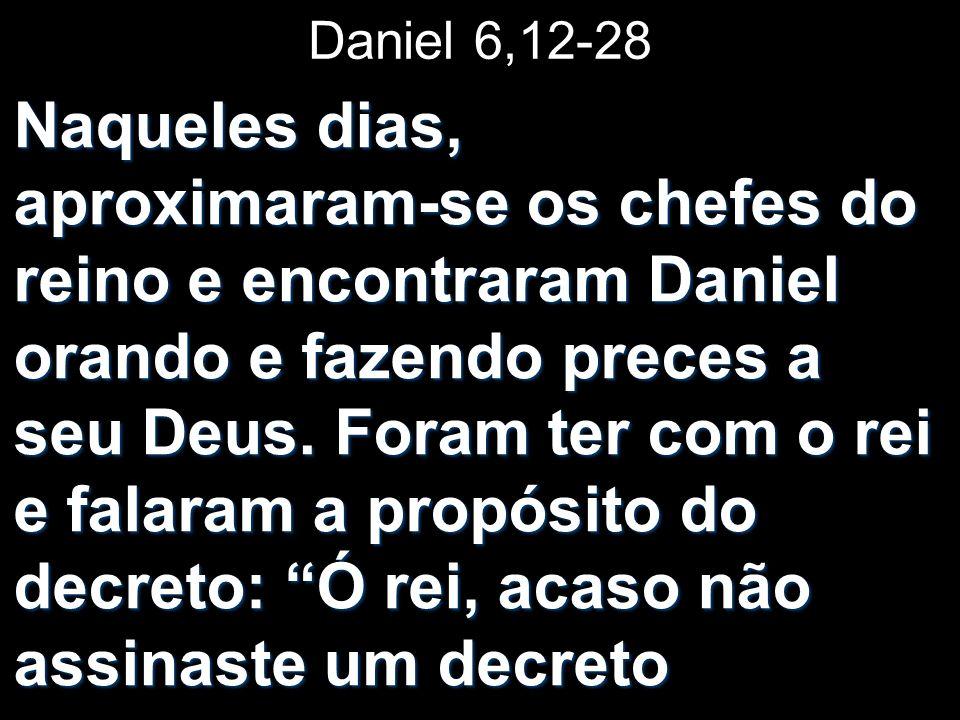 Daniel 6,12-28 Naqueles dias, aproximaram-se os chefes do reino e encontraram Daniel orando e fazendo preces a seu Deus.