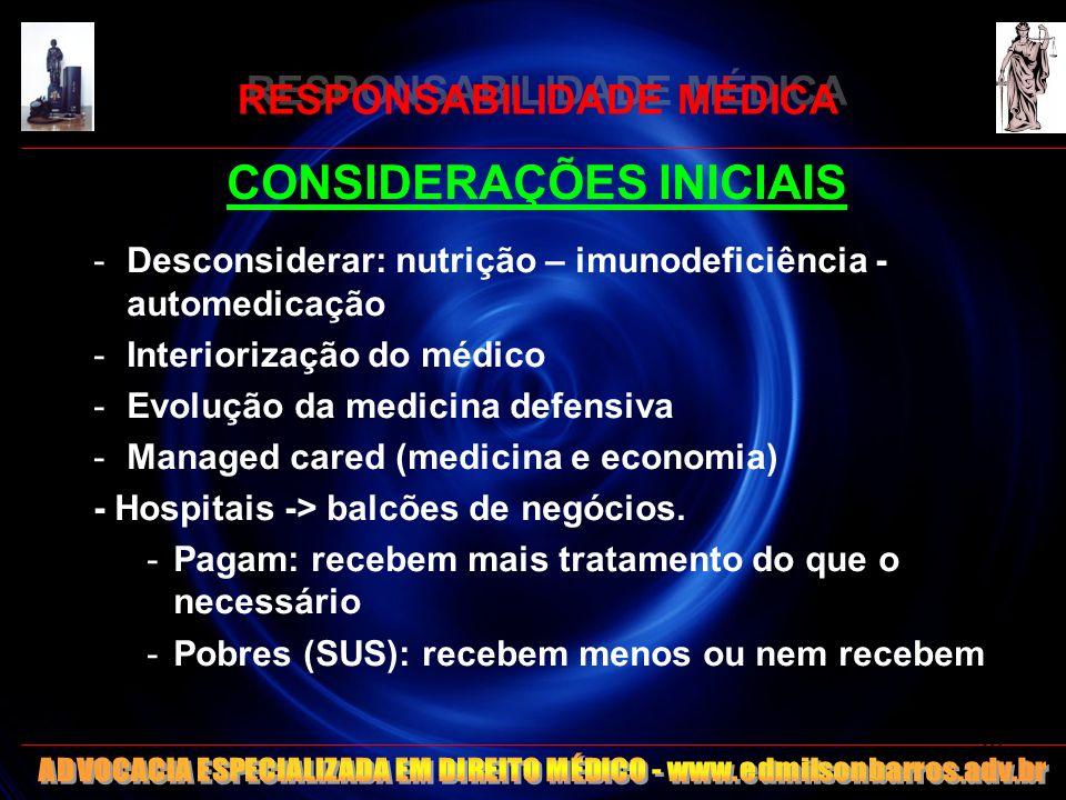 RESPONSABILIDADE MÉDICA CONSIDERAÇÕES INICIAIS -Desconsiderar: nutrição – imunodeficiência - automedicação -Interiorização do médico -Evolução da medi