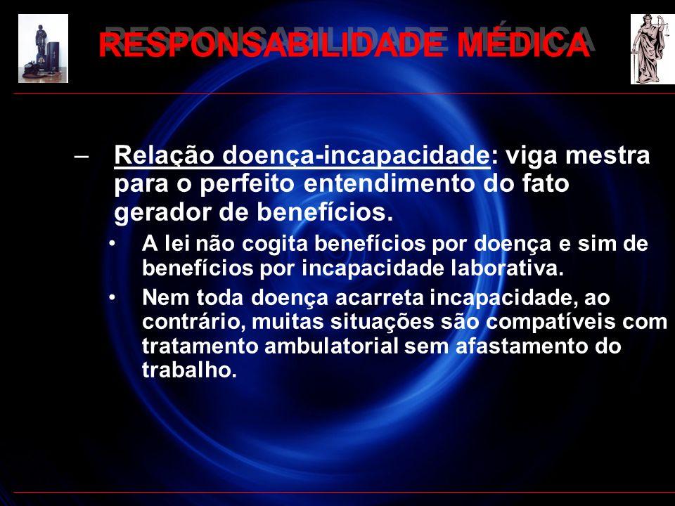 –Relação doença-incapacidade: viga mestra para o perfeito entendimento do fato gerador de benefícios. A lei não cogita benefícios por doença e sim de