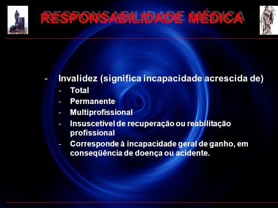 -Invalidez (significa incapacidade acrescida de) -Total -Permanente -Multiprofissional -Insuscetível de recuperação ou reabilitação profissional -Corr