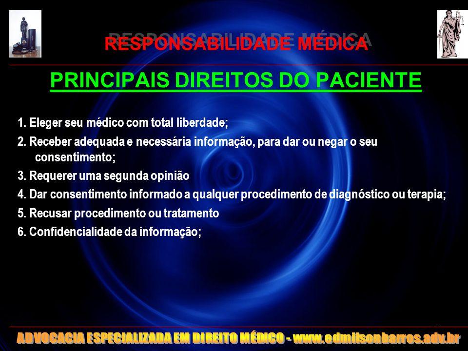 RESPONSABILIDADE MÉDICA PRINCIPAIS DIREITOS DO PACIENTE 1. Eleger seu médico com total liberdade; 2. Receber adequada e necessária informação, para da