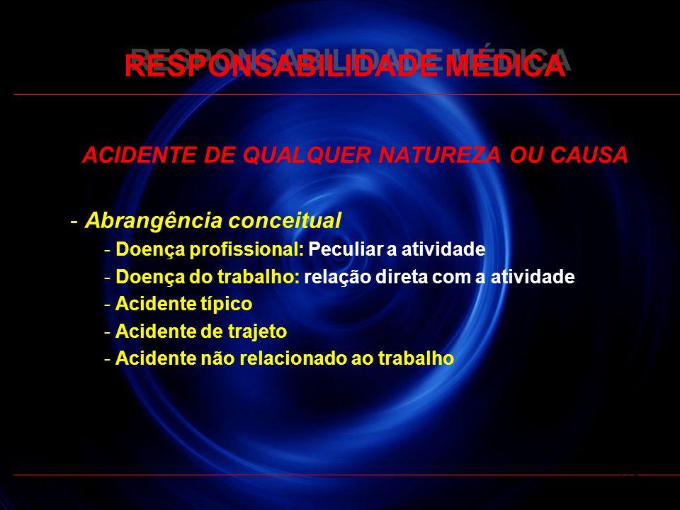RESPONSABILIDADE MÉDICA ACIDENTE DE QUALQUER NATUREZA OU CAUSA - Abrangência conceitual - Doença profissional: Peculiar a atividade - Doença do trabal