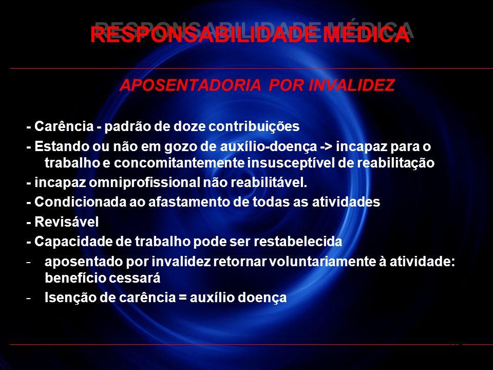 RESPONSABILIDADE MÉDICA APOSENTADORIA POR INVALIDEZ - Carência - padrão de doze contribuições - Estando ou não em gozo de auxílio-doença -> incapaz pa
