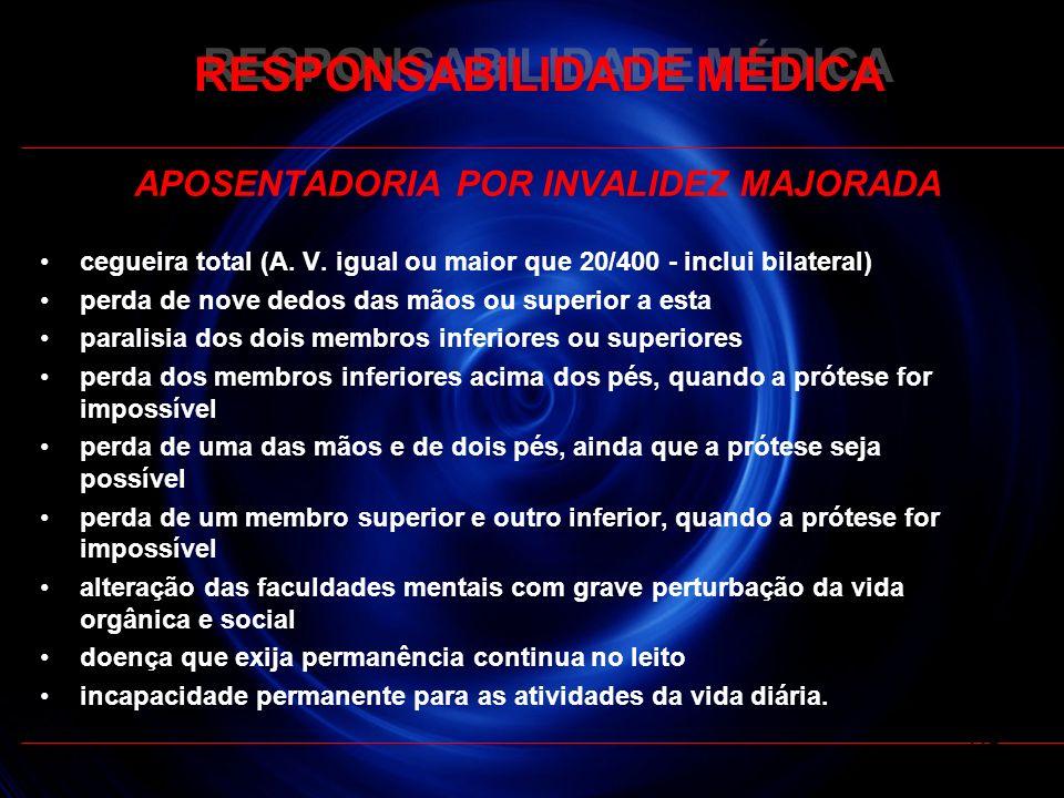 RESPONSABILIDADE MÉDICA APOSENTADORIA POR INVALIDEZ MAJORADA cegueira total (A. V. igual ou maior que 20/400 - inclui bilateral) perda de nove dedos d