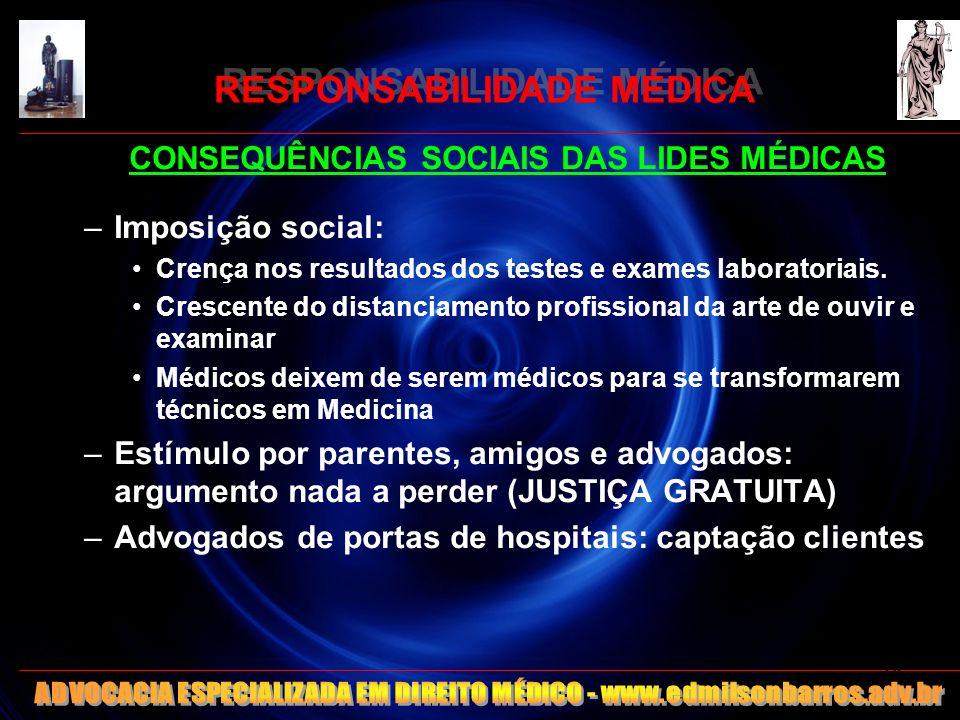 RESPONSABILIDADE MÉDICA CONSEQUÊNCIAS SOCIAIS DAS LIDES MÉDICAS –Imposição social: Crença nos resultados dos testes e exames laboratoriais. Crescente