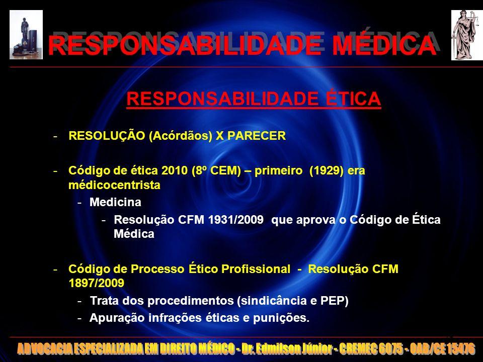 RESPONSABILIDADE MÉDICA RESPONSABILIDADE ÉTICA -RESOLUÇÃO (Acórdãos) X PARECER -Código de ética 2010 (8º CEM) – primeiro (1929) era médicocentrista -M