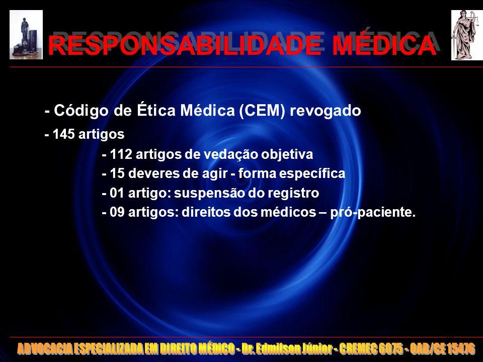 RESPONSABILIDADE MÉDICA - Código de Ética Médica (CEM) revogado - 145 artigos - 112 artigos de vedação objetiva - 15 deveres de agir - forma específic
