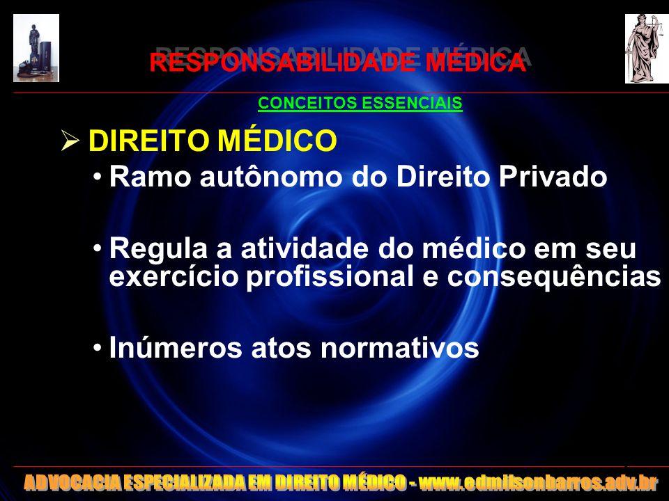 RESPONSABILIDADE MÉDICA CONCEITOS ESSENCIAIS DIREITO MÉDICO Ramo autônomo do Direito Privado Regula a atividade do médico em seu exercício profissiona