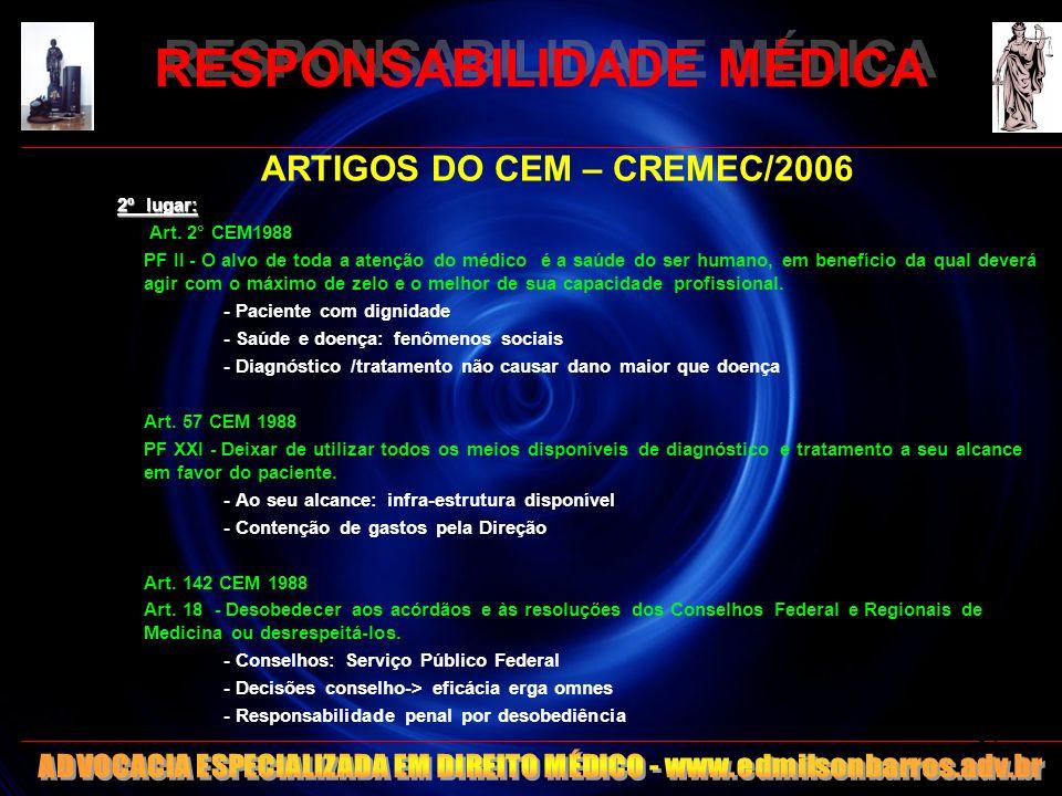 RESPONSABILIDADE MÉDICA ARTIGOS DO CEM – CREMEC/2006 2º lugar: Art. 2° CEM1988 PF II - O alvo de toda a atenção do médico é a saúde do ser humano, em