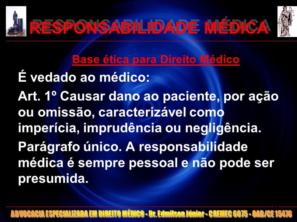RESPONSABILIDADE MÉDICA Base ética para Direito Médico É vedado ao médico: Art. 1º Causar dano ao paciente, por ação ou omissão, caracterizável como i