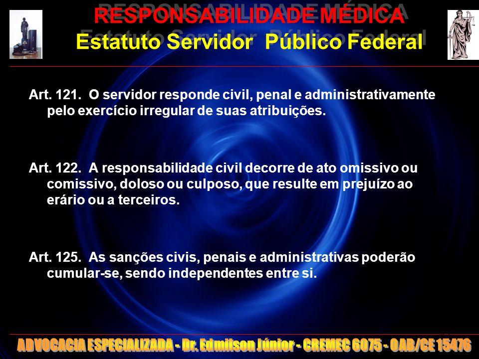 RESPONSABILIDADE MÉDICA Estatuto Servidor Público Federal Art. 121. O servidor responde civil, penal e administrativamente pelo exercício irregular de