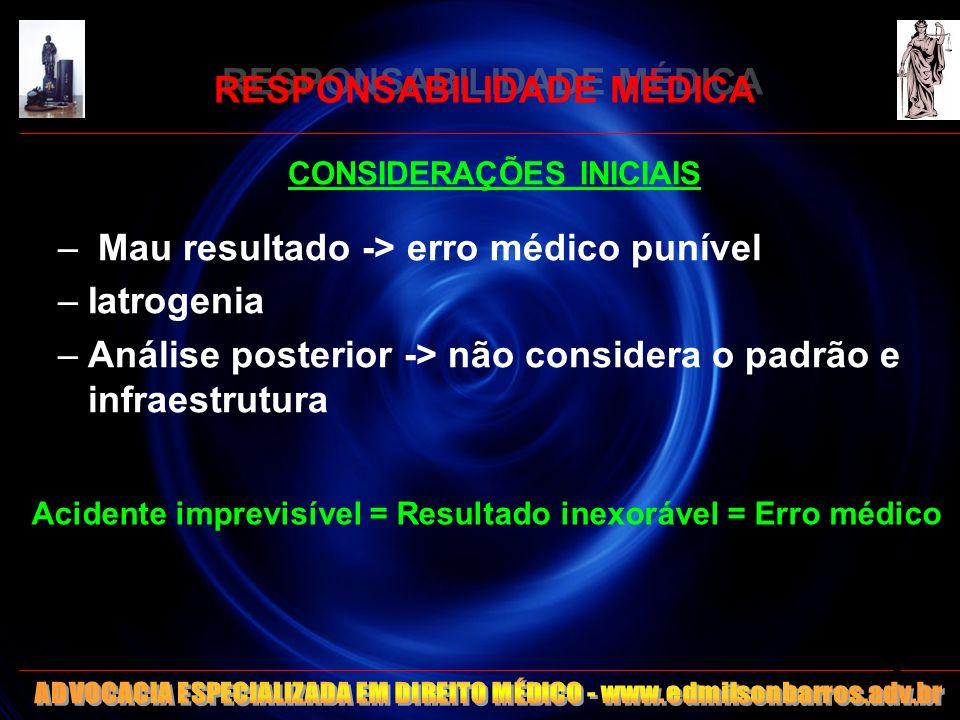 CONSIDERAÇÕES INICIAIS – Mau resultado -> erro médico punível –Iatrogenia –Análise posterior -> não considera o padrão e infraestrutura Acidente impre