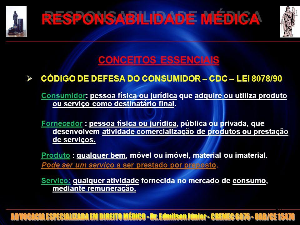 RESPONSABILIDADE MÉDICA CONCEITOS ESSENCIAIS CÓDIGO DE DEFESA DO CONSUMIDOR – CDC – LEI 8078/90 Consumidor: pessoa física ou jurídica que adquire ou u