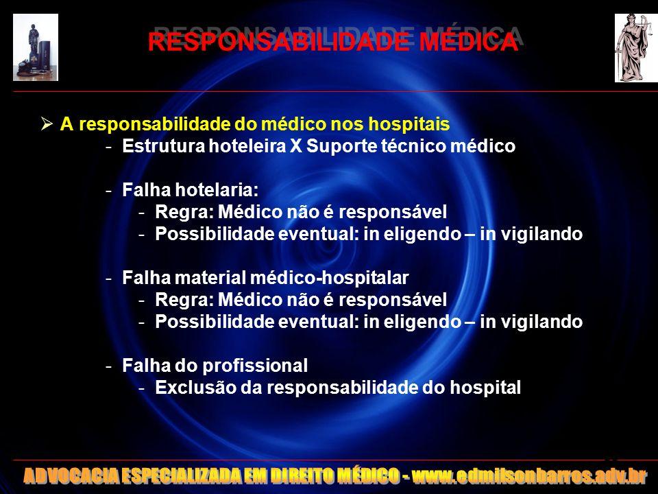 RESPONSABILIDADE MÉDICA A responsabilidade do médico nos hospitais -Estrutura hoteleira X Suporte técnico médico -Falha hotelaria: -Regra: Médico não